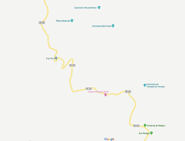 Mapa das cachoeiras, Bonito-PE